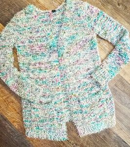 Love By Design multicolor fluffy cardigan sweater